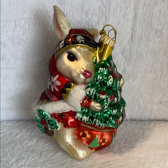 Fitz and Floyd Vintage Christmas Rabbit Ornament